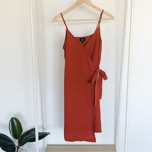 Target Faux Wrap Dress in Rust